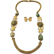 MIRIAM HASKELL by Lawrence Vrba Green Scarab and Pharaoh Long Necklace and Earrings