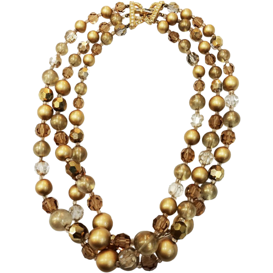 MARVELLA Shades of Brown and Gold Tone Three Strand Beaded Necklace