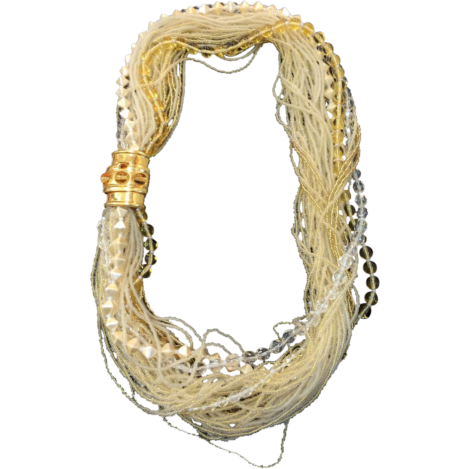 Thirty Nine Strand Cream and Beige Multi Bead Necklace with Cabochoned Clasp