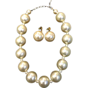 Giant Round Chunky Imitation Pearl Necklace and Earrings