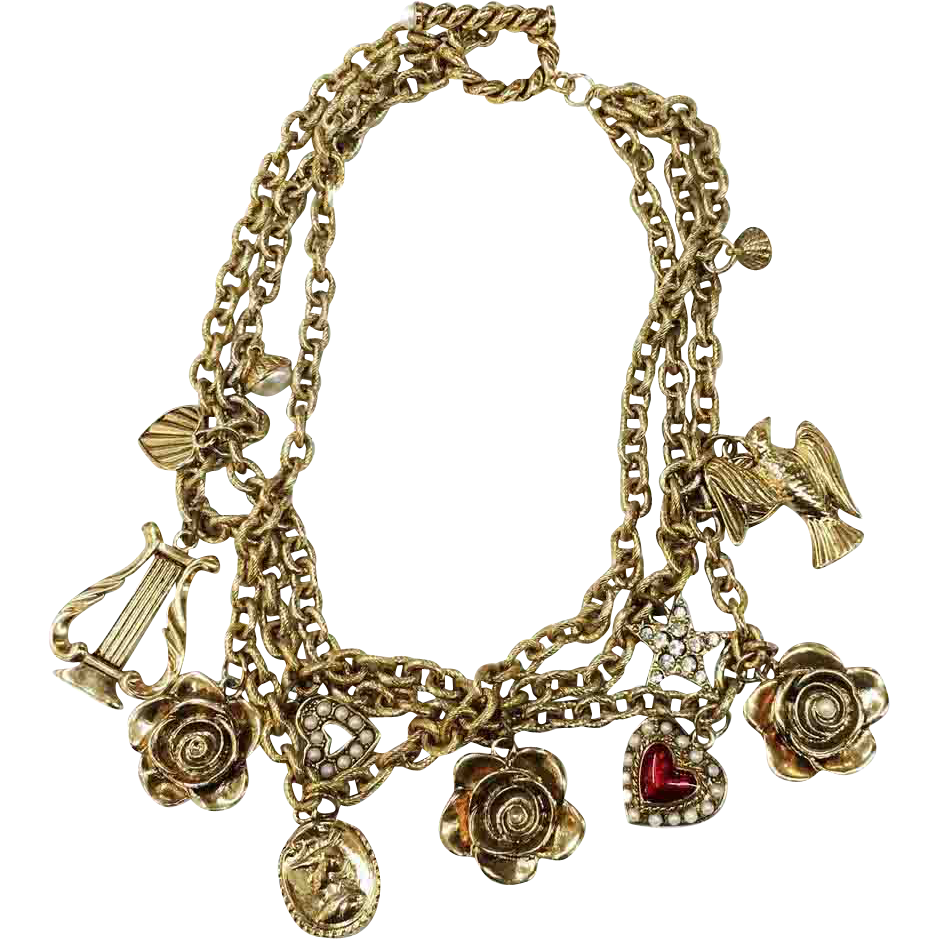 Funky Chunky Triple Strand Gold Tone Metal Charm Necklace