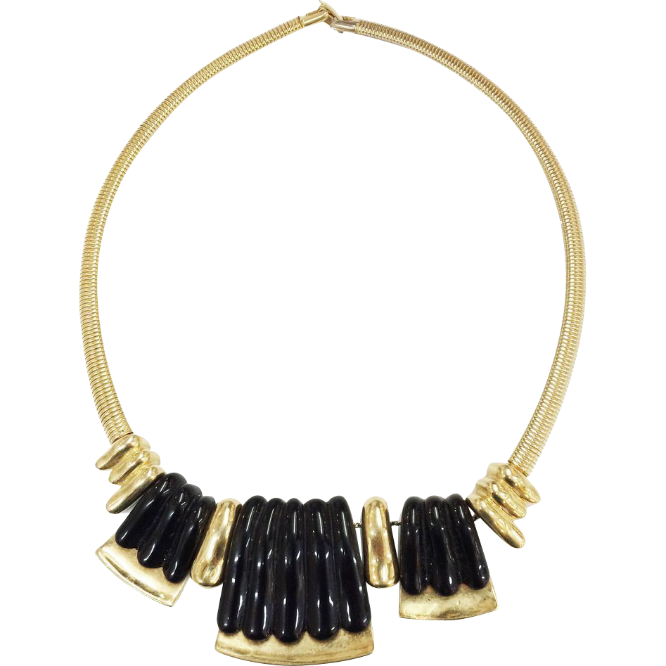 NAPIER Articulated Gold Tone and Black Resin Modernist Dimensional Snake Chain Necklace