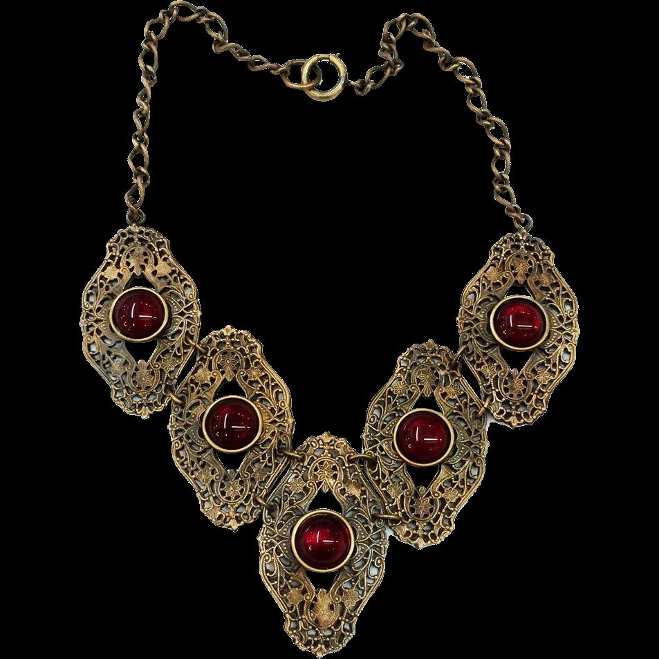 Dark Brass Baroque Filigree Link Necklace with Dark Red Bezel Set Cabochons