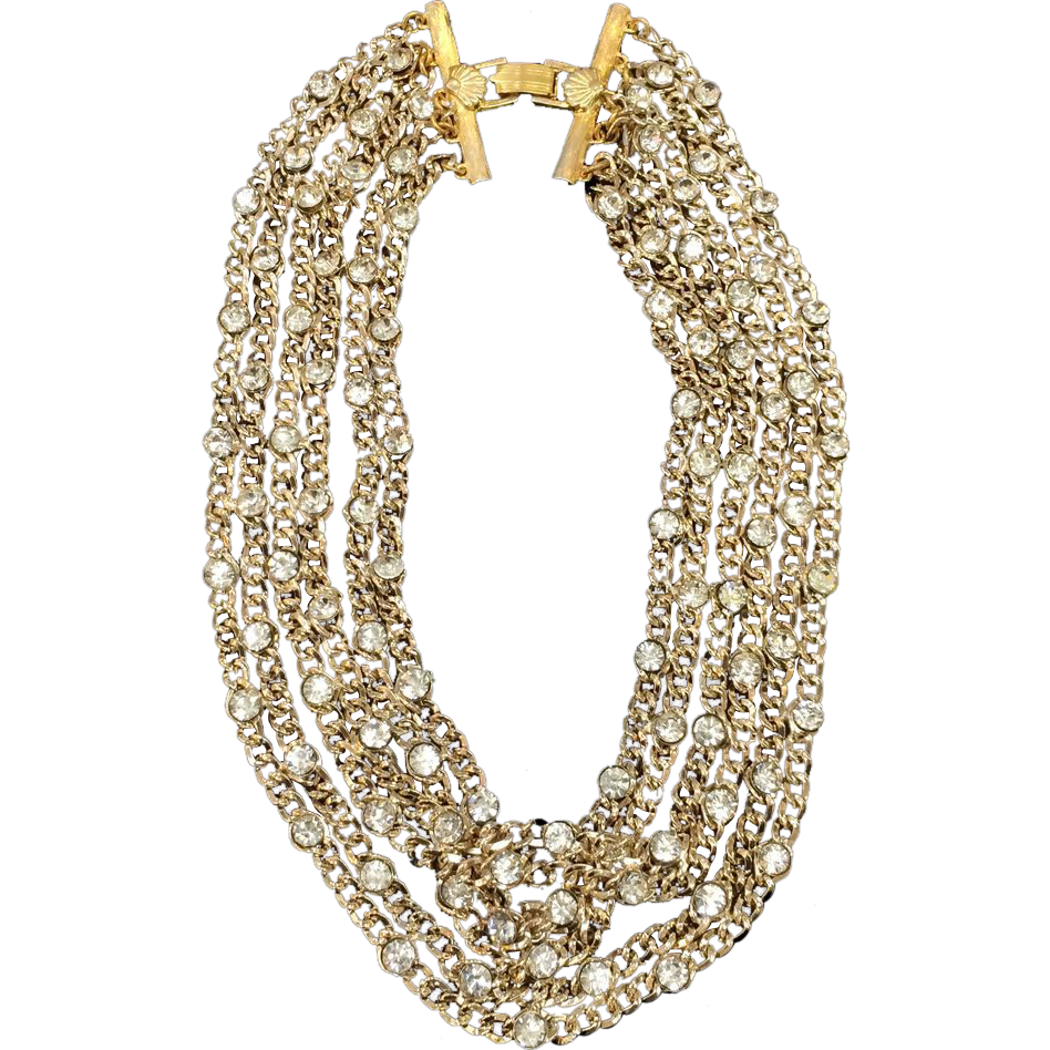 RICHELIEU Multi Strand Rhinestone Accented Variegated Chain Necklace