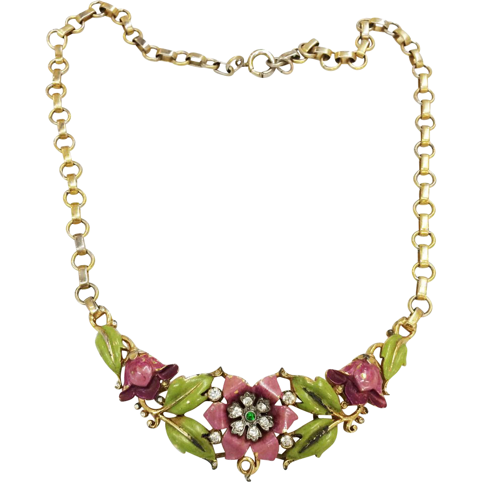 1939 CROWN TRIFARI Alfred Philippe Enameled Purple Flower and Green Leaf Necklace