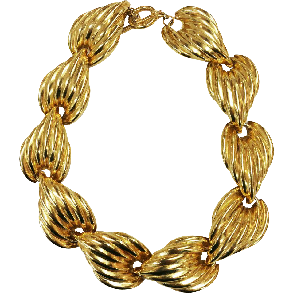 Ridged Design Gold Tone Metal Link Collar de Chien Necklace