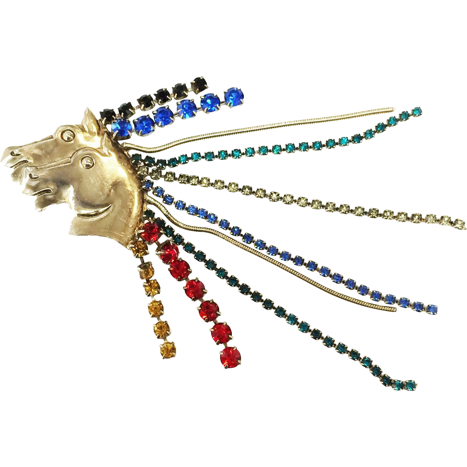 Wild Huge Multi Color Rhinestone Mane Double Horse Head Brooch Pin