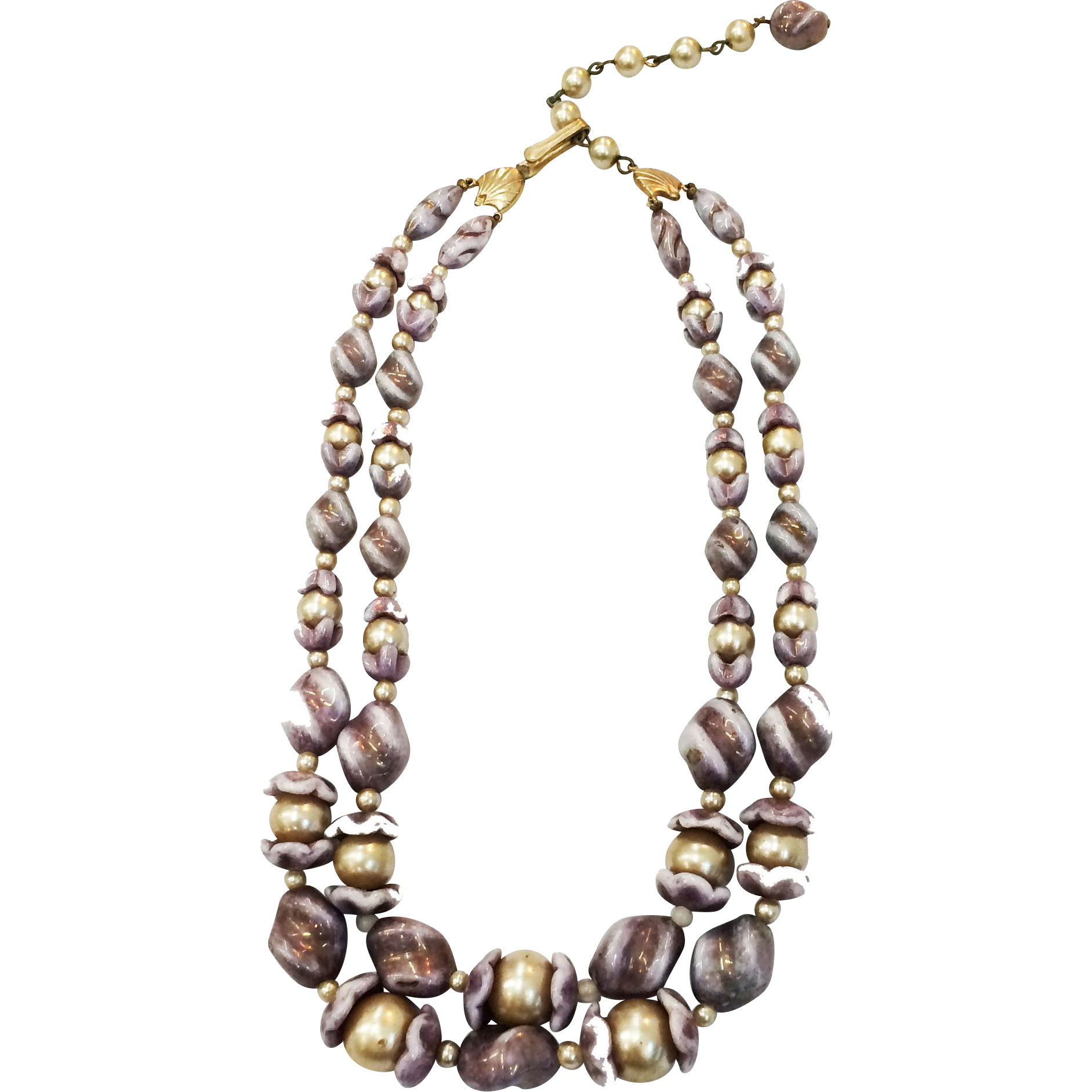European Art Glass and Imitation Pearl Double Strand Necklace