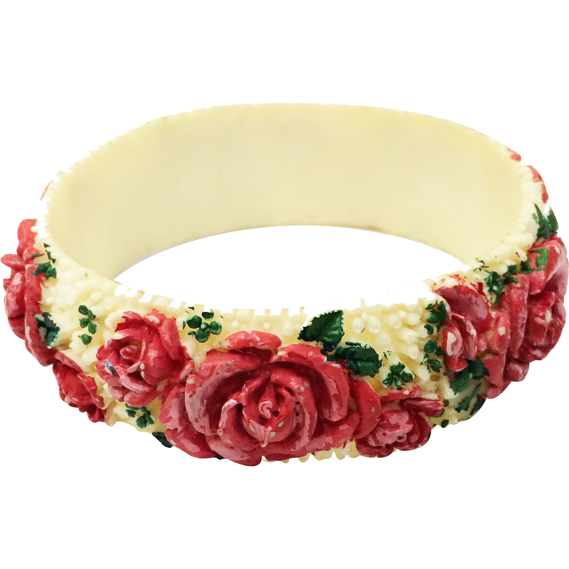 American Beauty Rose Painted Carved Celluloid Bangle Bracelet