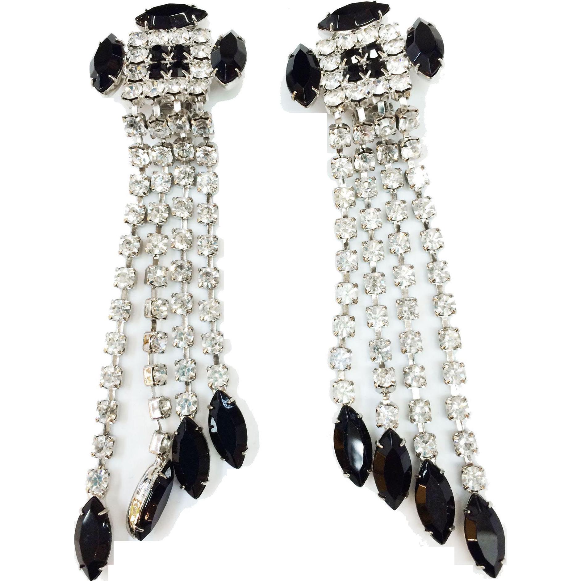 Ultra Long Drama Queen Clear and Black Tassel Rhinestone Earrings