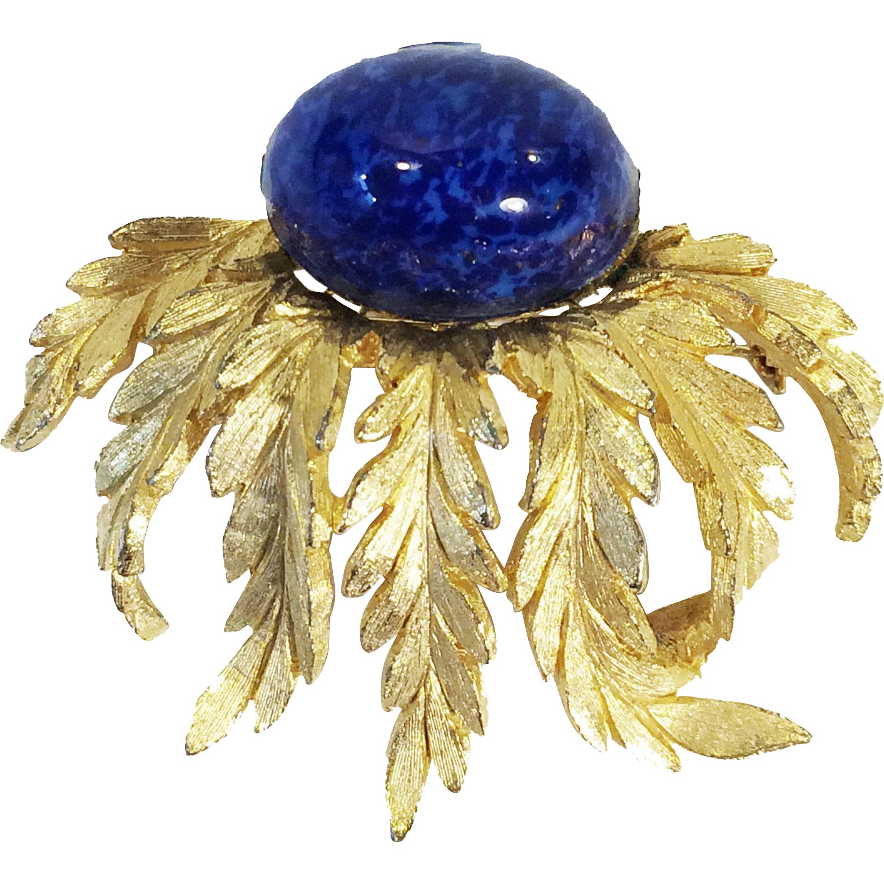 HATTIE CARNEGIE Lapis Colored Cabochon Wild Flower Gold Tone Brooch