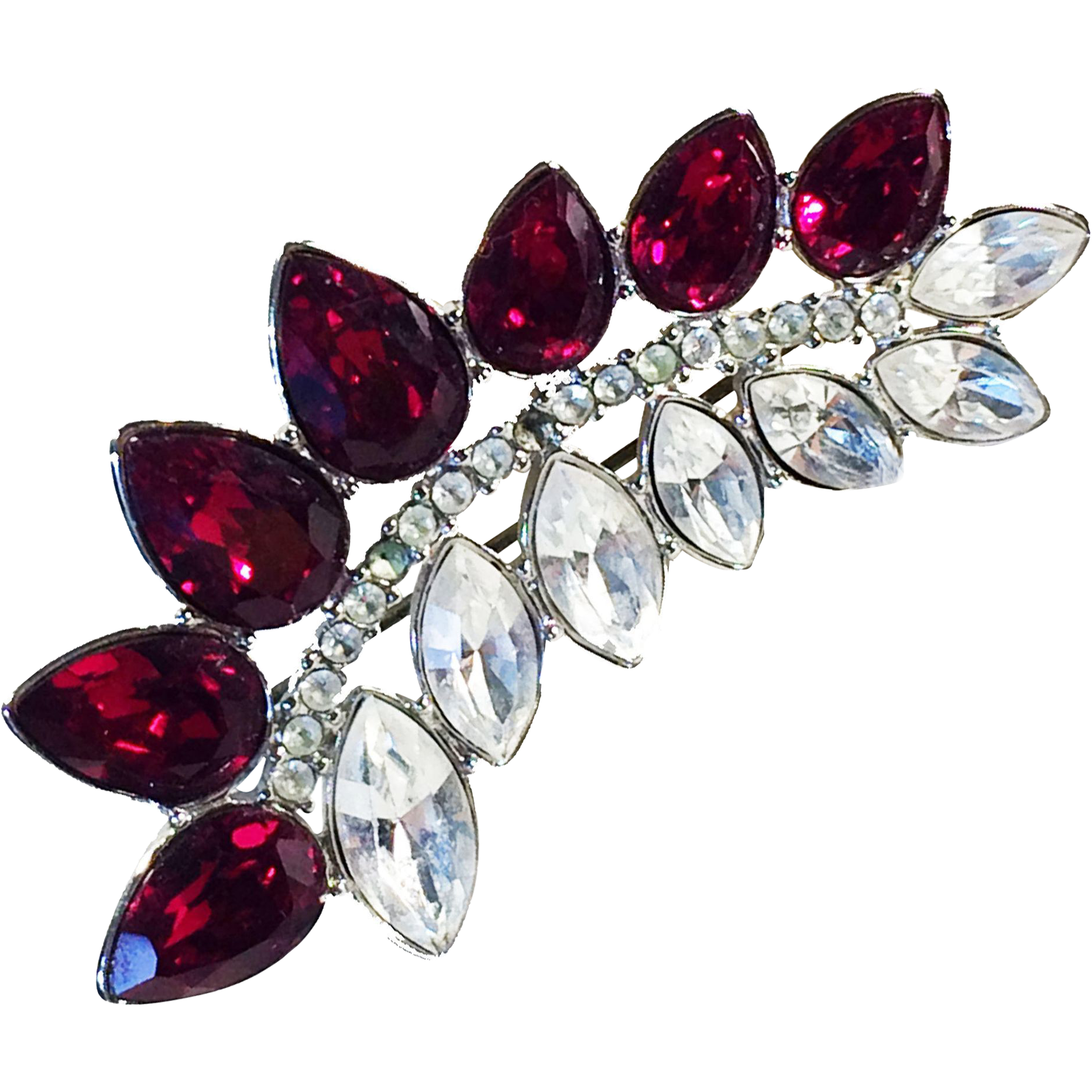 YSL Ruby Red Glass Pear and Clear Navette Rhinestone Spray Brooch