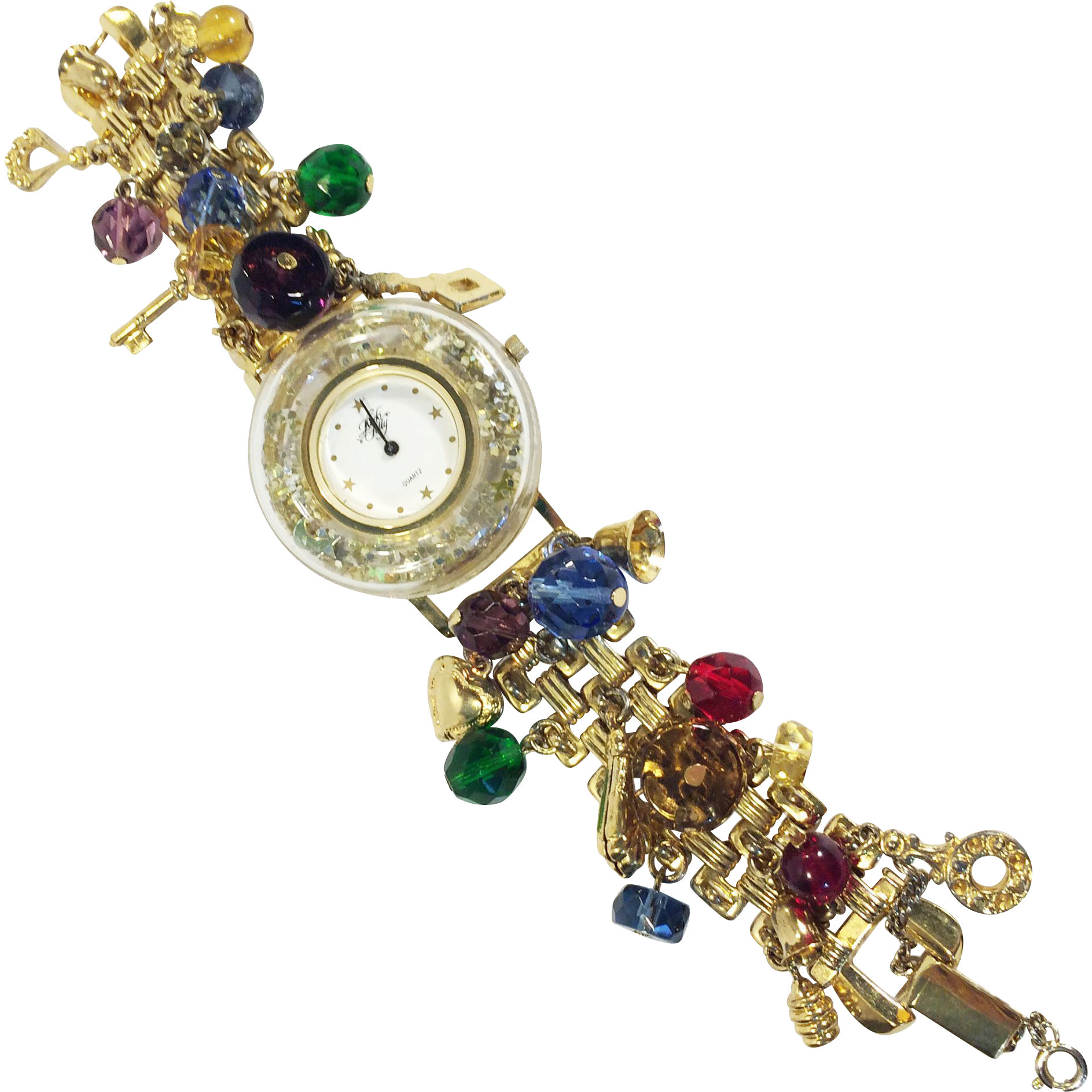 KIRK'S FOLLY Lucite Glitter Bezel Multi Charm Link Band Watch Bracelet