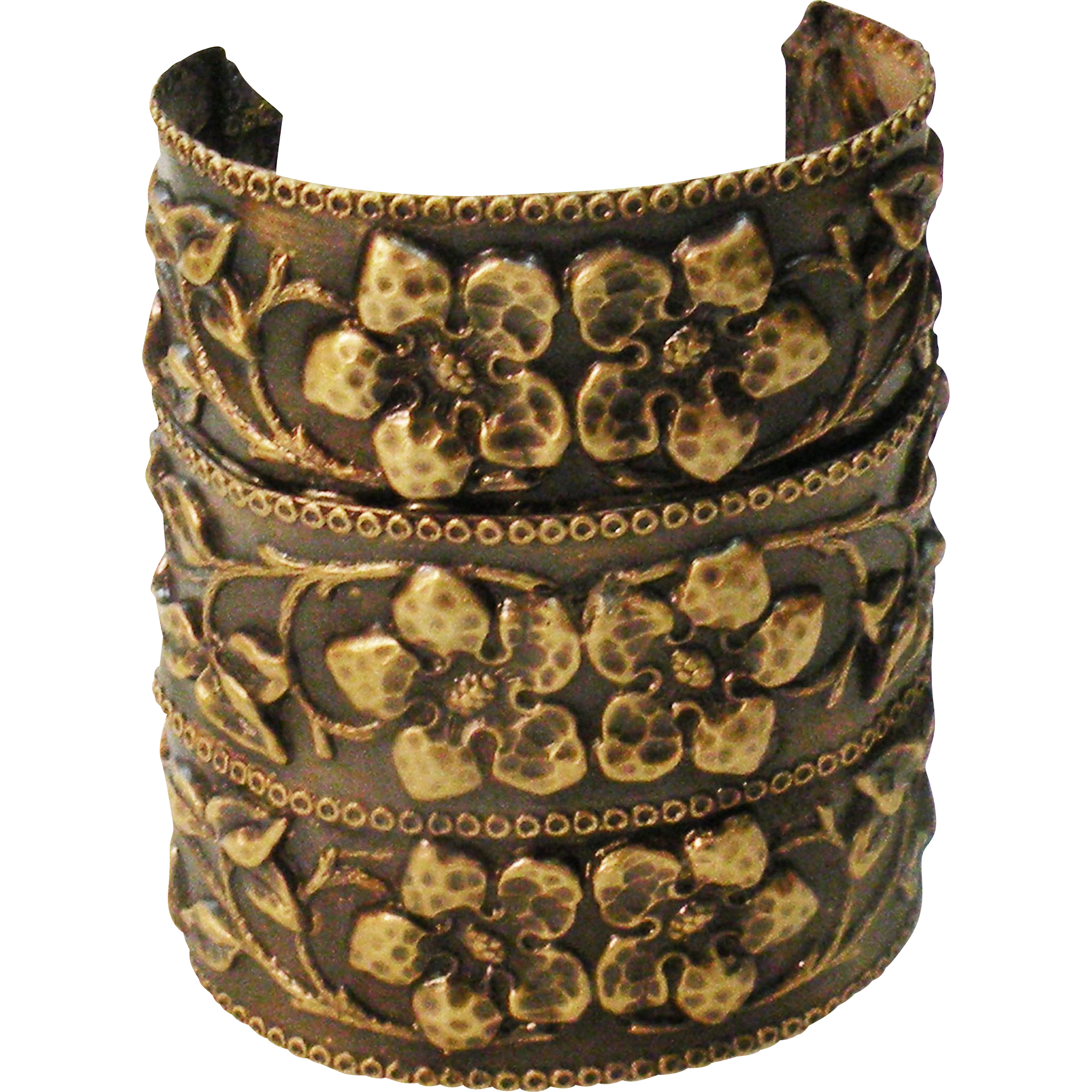 Wide Light Weight Floral Repousee Effect Copper Color Cuff Bracelet