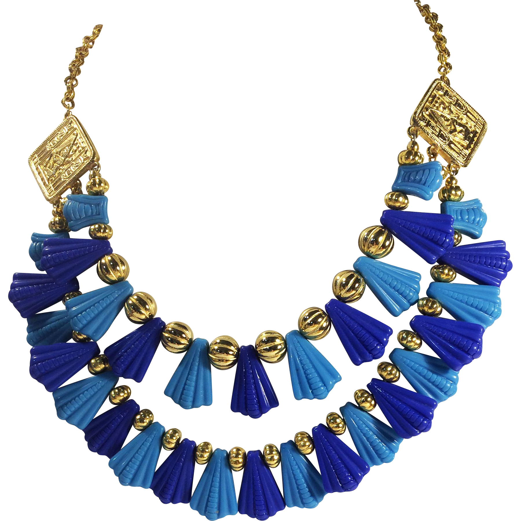 Egyptian Revival Double Layer Turq and Royal Molded Fan Bead Bib Necklace