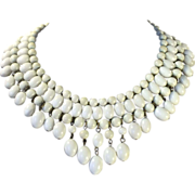 Creamy Off White Beaded Bib Necklace Made in Japan
