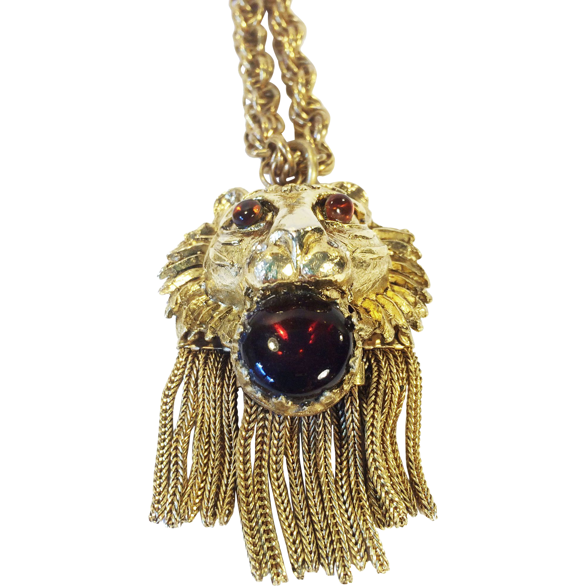 I Love My Lions Long Tasseled Pendant Necklace with Red Cabochon in his Mouth and Amber Eyes