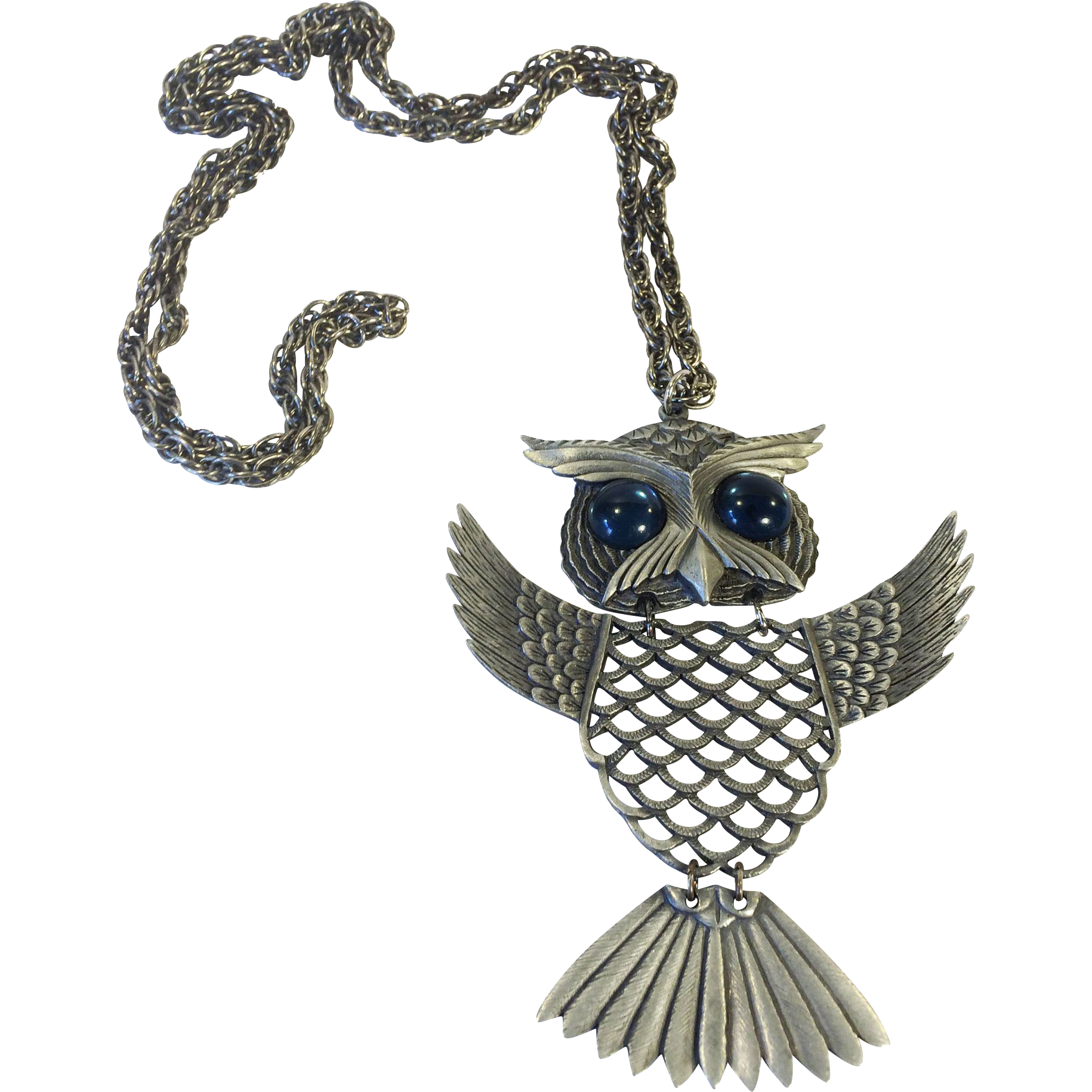 Large Wing Flapping Gunmetal Colored Blue Eyed Hoot Owl Pendant Necklace