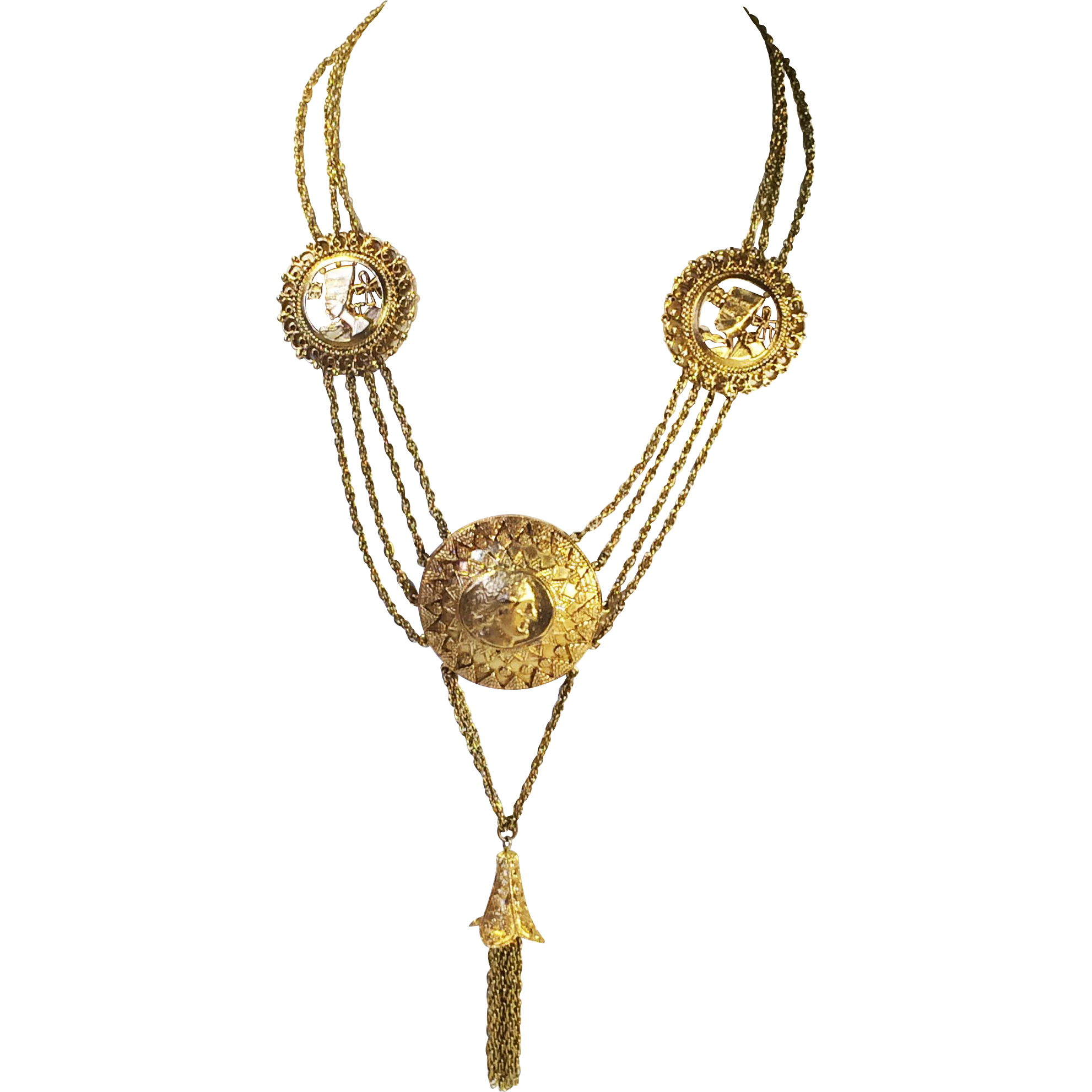 Egyptian and Greek Head Motif Long Triple Chain Tasseled Festoon Necklace