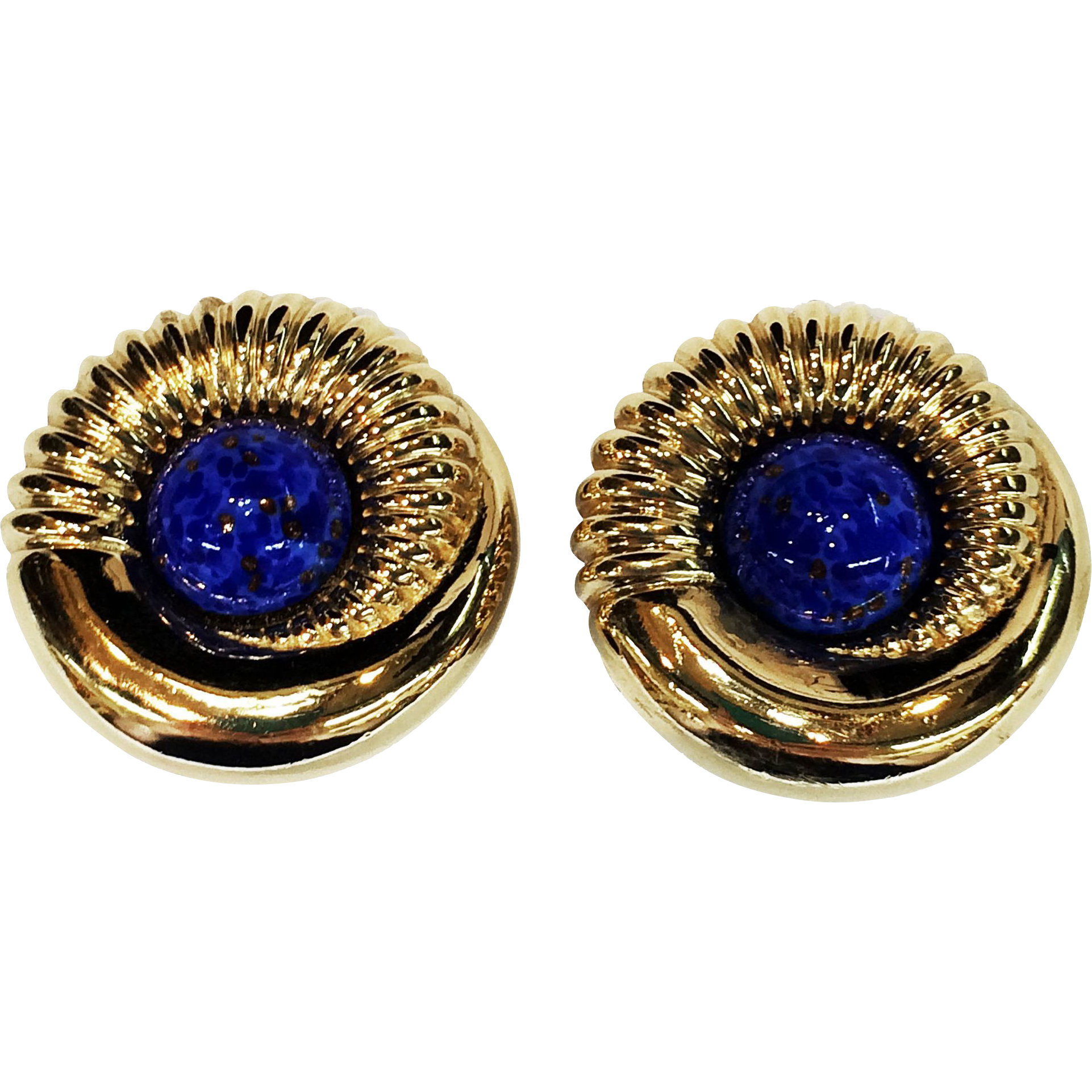 Signed CINER Gold Plated Metal Earrings with Blue and Copper Flecked Cabochon