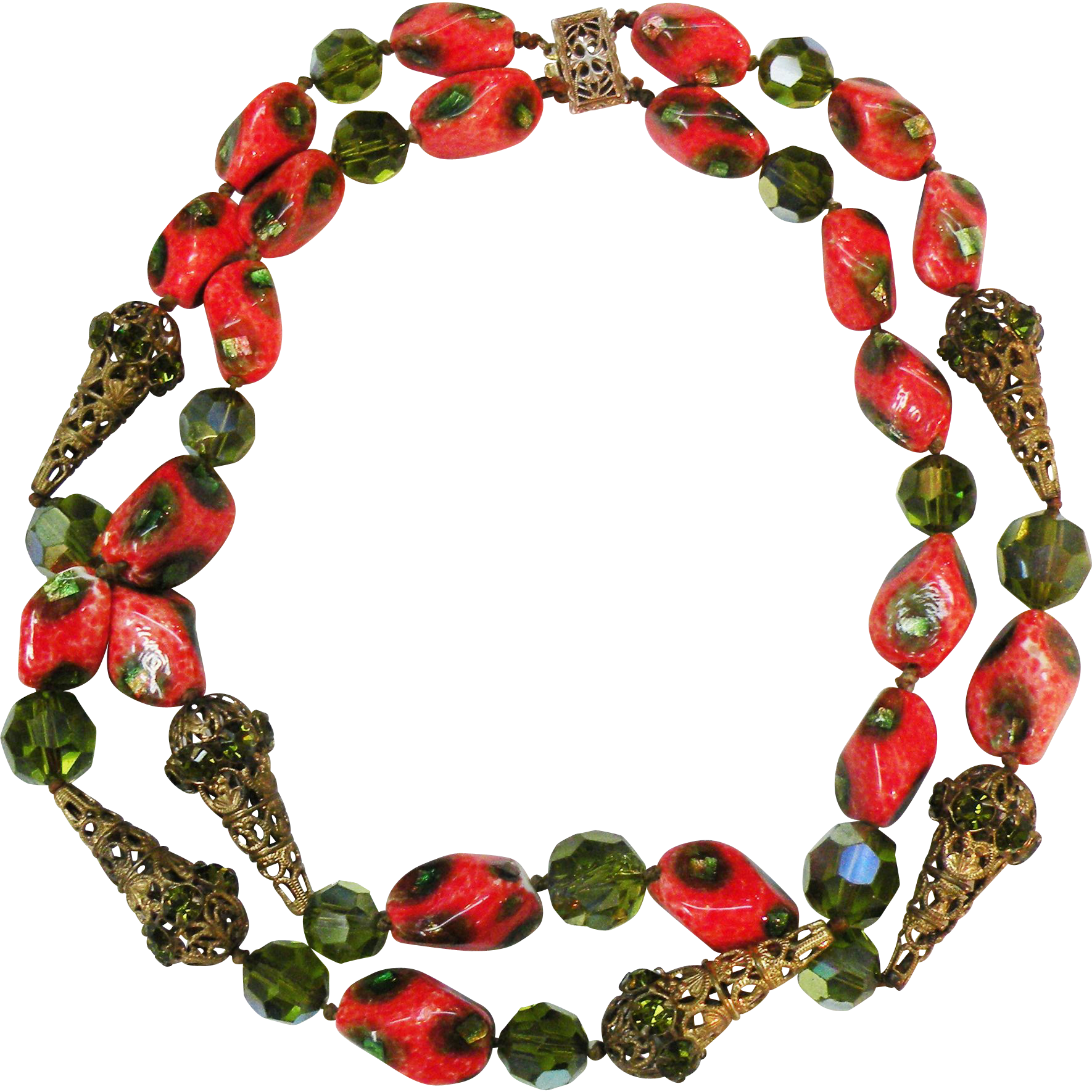 Fiery Orange and Green Art Glass Bead with Olive Rhinestones and Brass Filigree Caps Double Strand Necklace