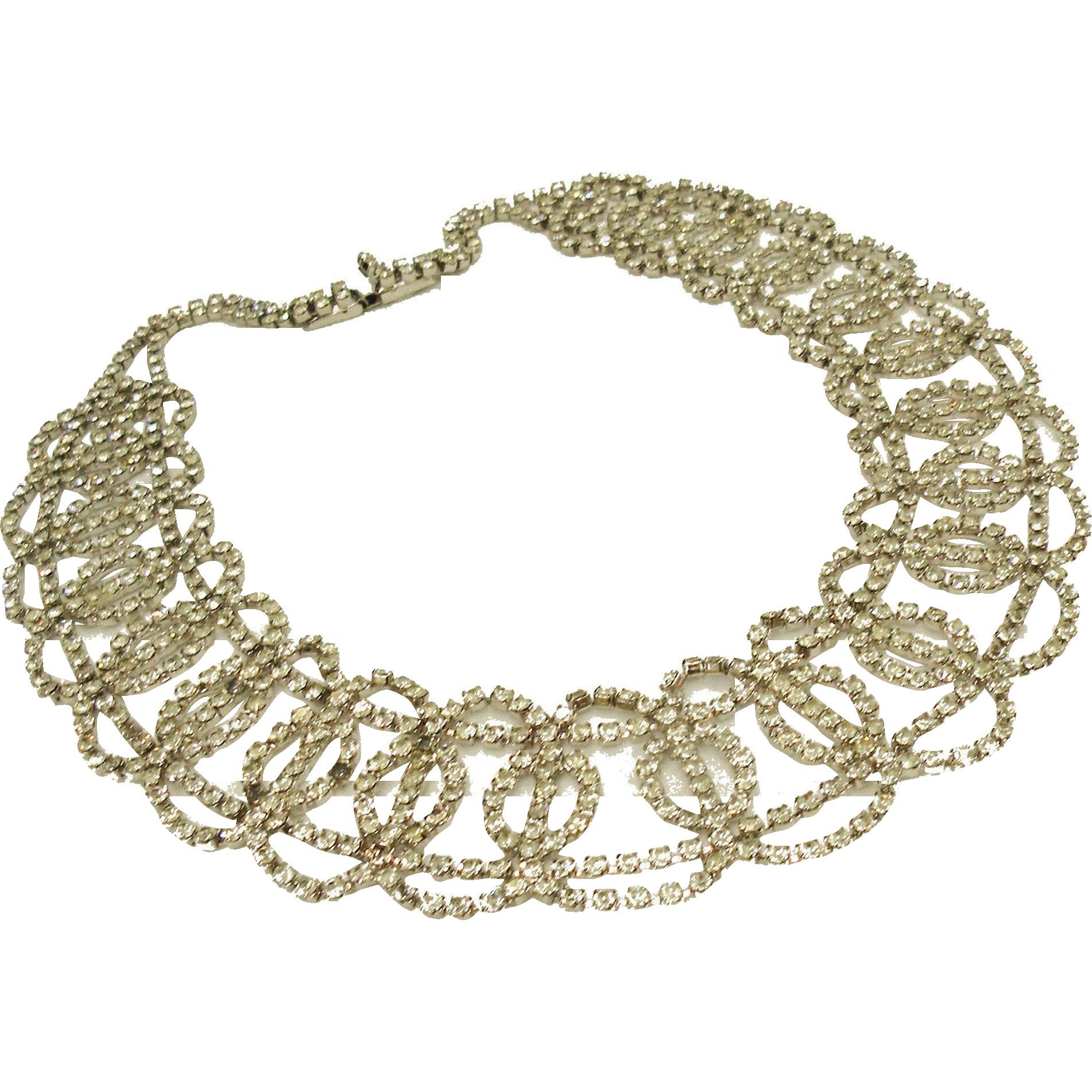 HOBE Crystal Clear Rhinestone Bridal Necklace