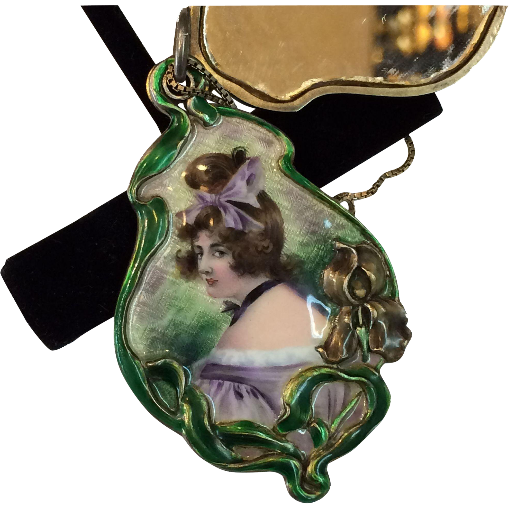 Meyle & Mayer Art Nouveau 900 Silver Depose Hand Painted Beautiful Lady Mirrored Pendant Necklace