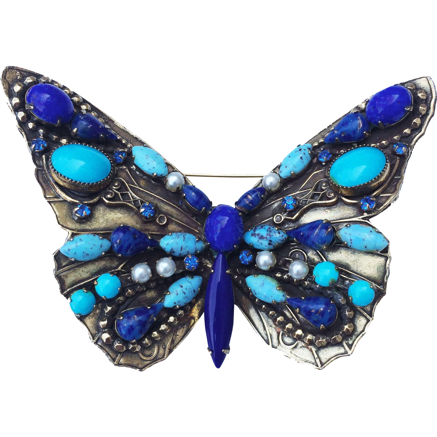 Original by Robert Lapis and Turquoise Color Glass Cabochon Giant Butterfly Brooch