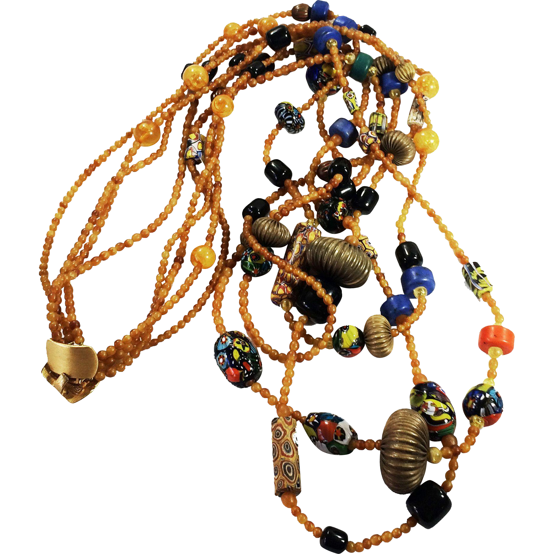 Ultra Long Amber Color and Multi Bead Multi Strand Necklace by JAY FEINBERG aka STRONGWATER