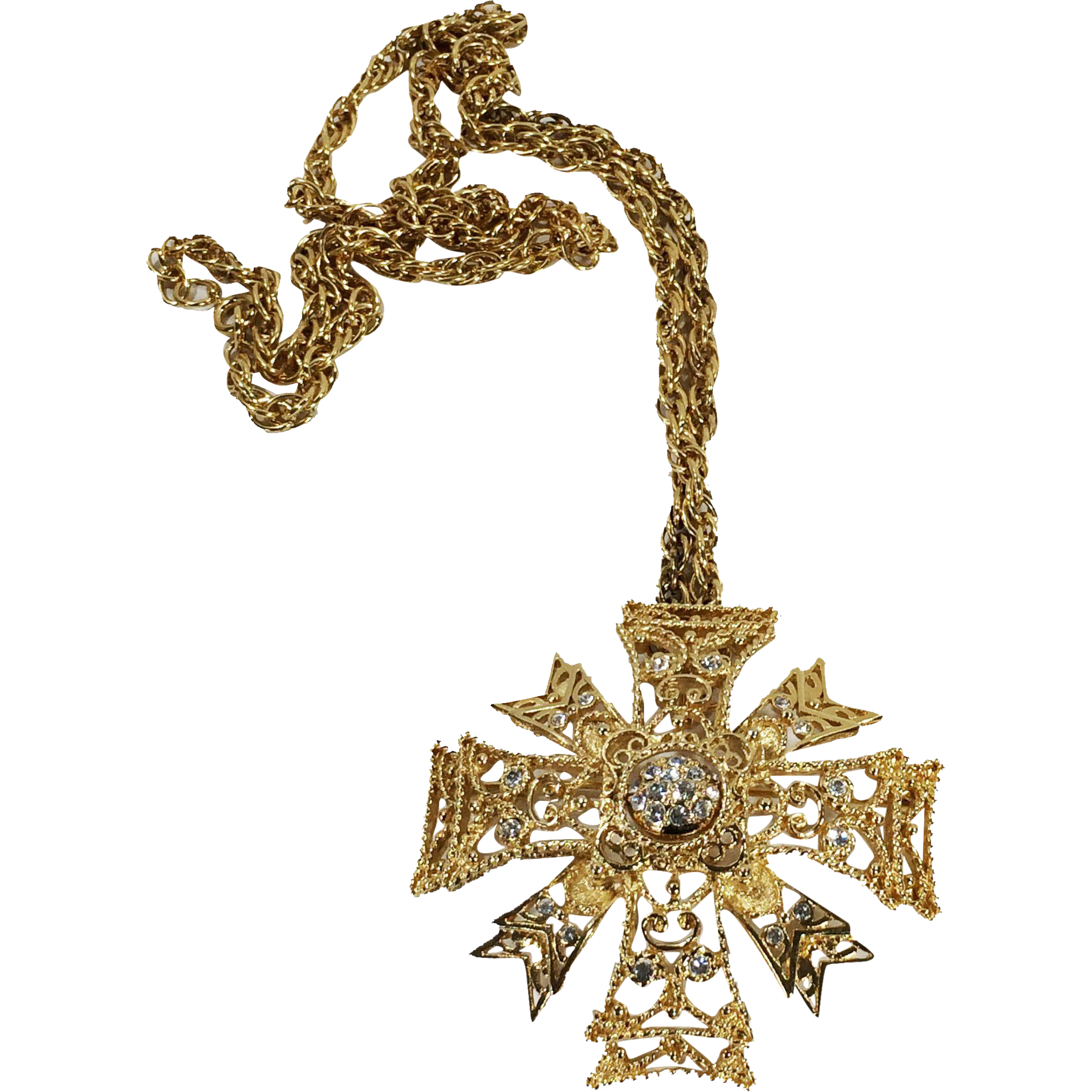 KENNETH LANE Long Large Gold and Rhinestone Maltese Cross Pendant Necklace
