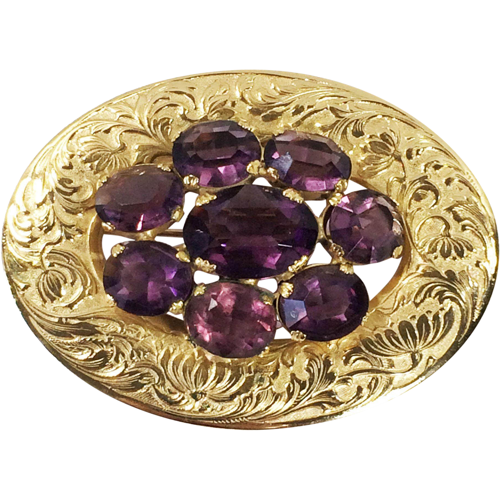 Gorgeous Elegant Etched Leaf Design and Purple Stoned Oval Brooch