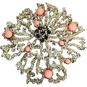 Clear Pave with Smoke Rhinestones and Coral Cabochons Modernist Space Age Lunar Galactic Brooch