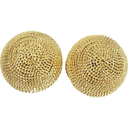 Vo Made in America Braided Gold Tone Metal Button Earrings