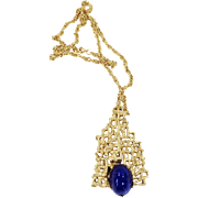 PANETTA Gold Tone Modernist Abstract Waffle Texture Pyramid Pendant Necklace with Lapis Colored Glass Cabochon