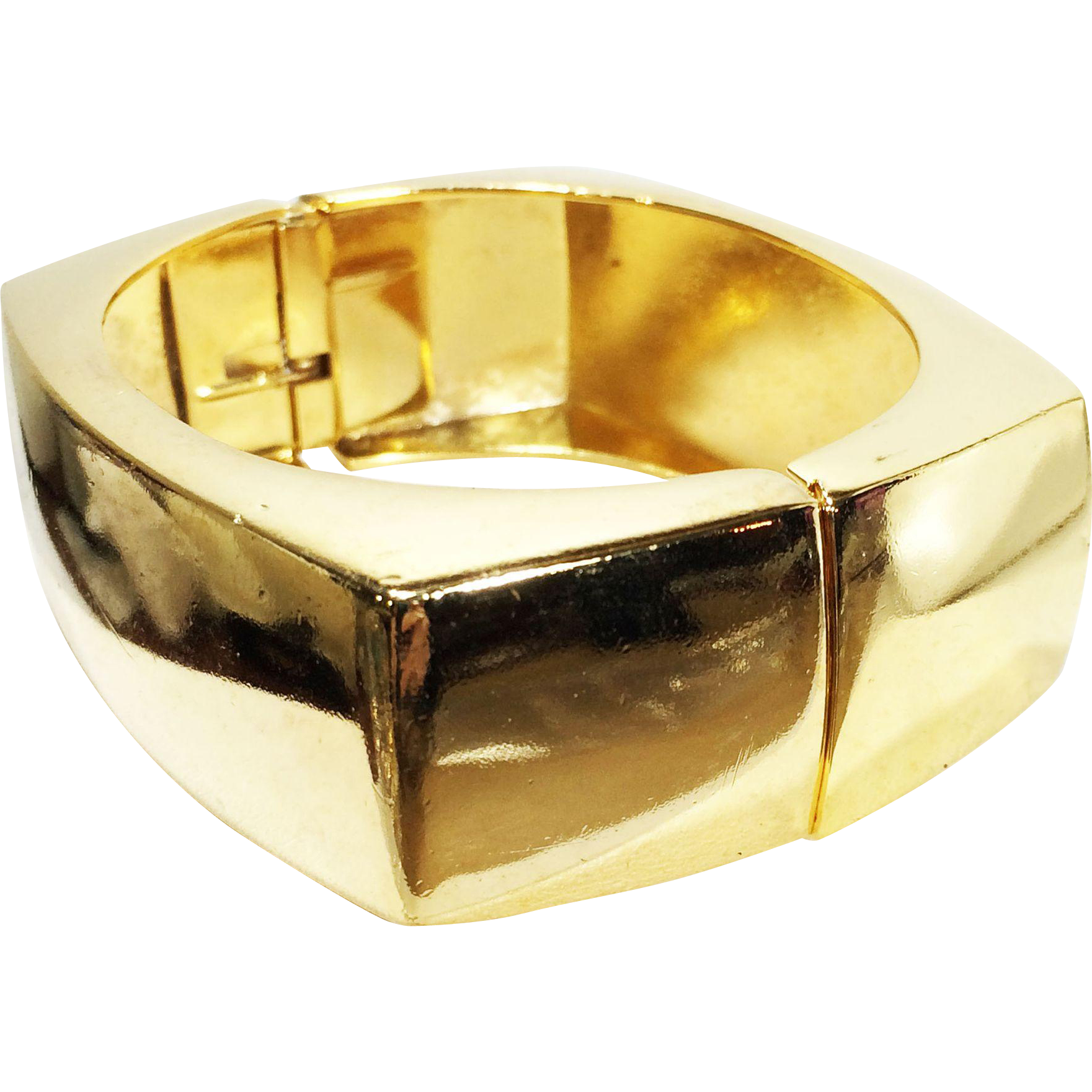 CHRISTIAN DIOR Germany 14K Gold Plated Rectangular Hinged Bracelet
