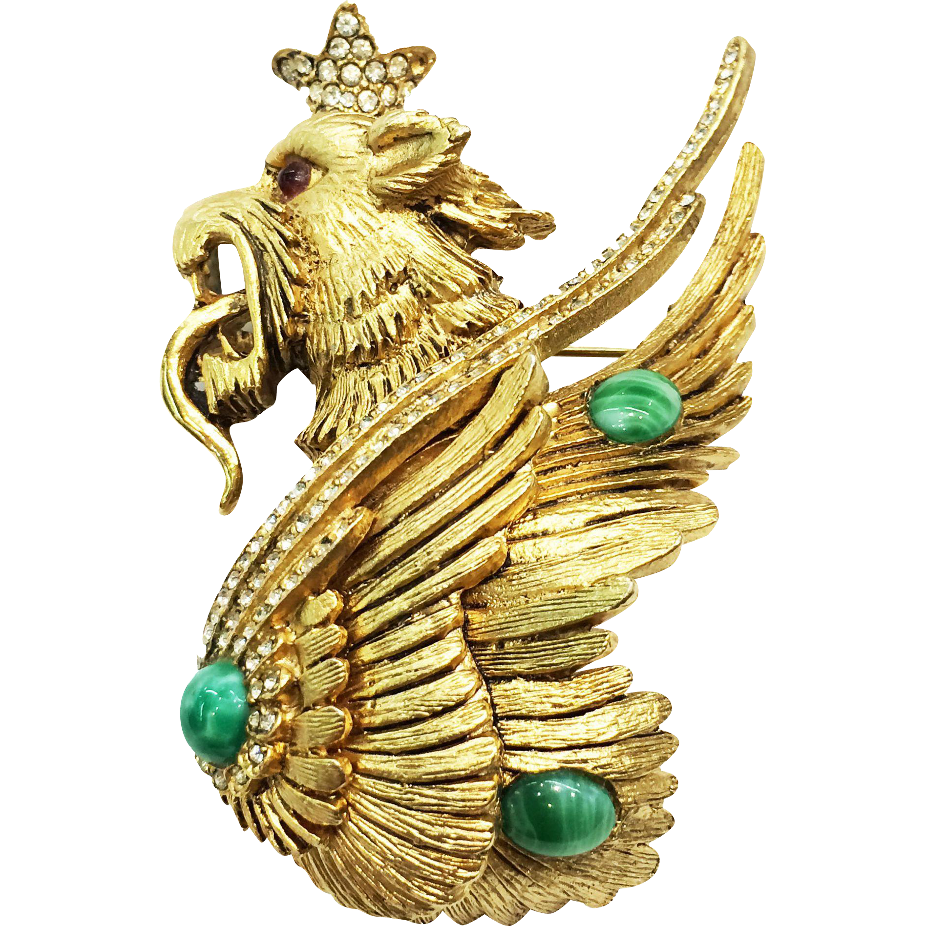 KRAMER Mythical Fire Breathing Winged Lion Figural Gold Tone Brooch with Green Cabochons