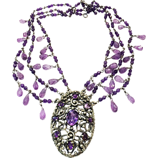 Antique Silver Plated and Purple Stoned Triple Layer Festoon Necklace with Amethyst Color Briolette Drops and Beads