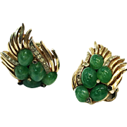 TRIFARI Flying Winged Gold Tone Metal with Deep Green Cabochon Earrings