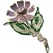 1930s-40s Early Pot Metal Dimensional Enameled Flower Brooch with Lacy Metal Leaves