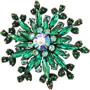 Shades of Green and Aurora Borealis Rhinestone Giant Snowflake Shaped Swedged Back 1950s Brooch