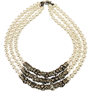 Triple Drop Strand Arctic White Faux Pearl Necklace with Round Ball and Line Clear Rhinestone Spacers and Sterling Clasp