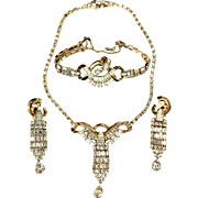 MAZER Sterling with Gold Tone Wash Necklace, Earrings, and Bracelet Parure with Icy Clear Baguettes and Rhinestones