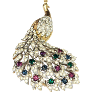 PANETTA Majestic Textured Gold Tone Mogul Stone Crowned Peacock with Clear Pave Figural Brooch