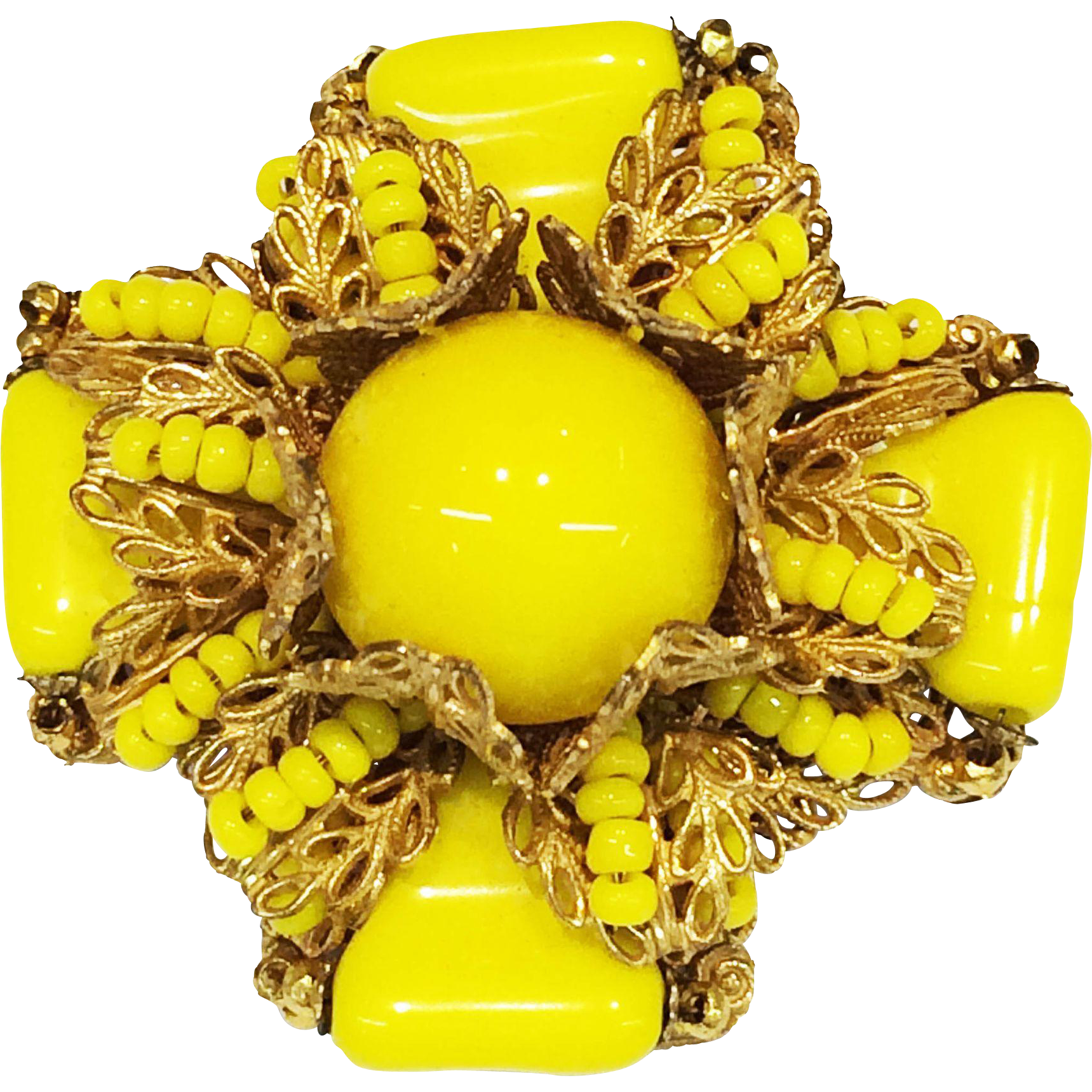 MIRIAM HASKELL Bright Yellow Glass Maltese Floral Brooch