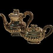 Georgian Lion of Judah Hallmarked Silver Lion Finial Teapot and Coffee Pot