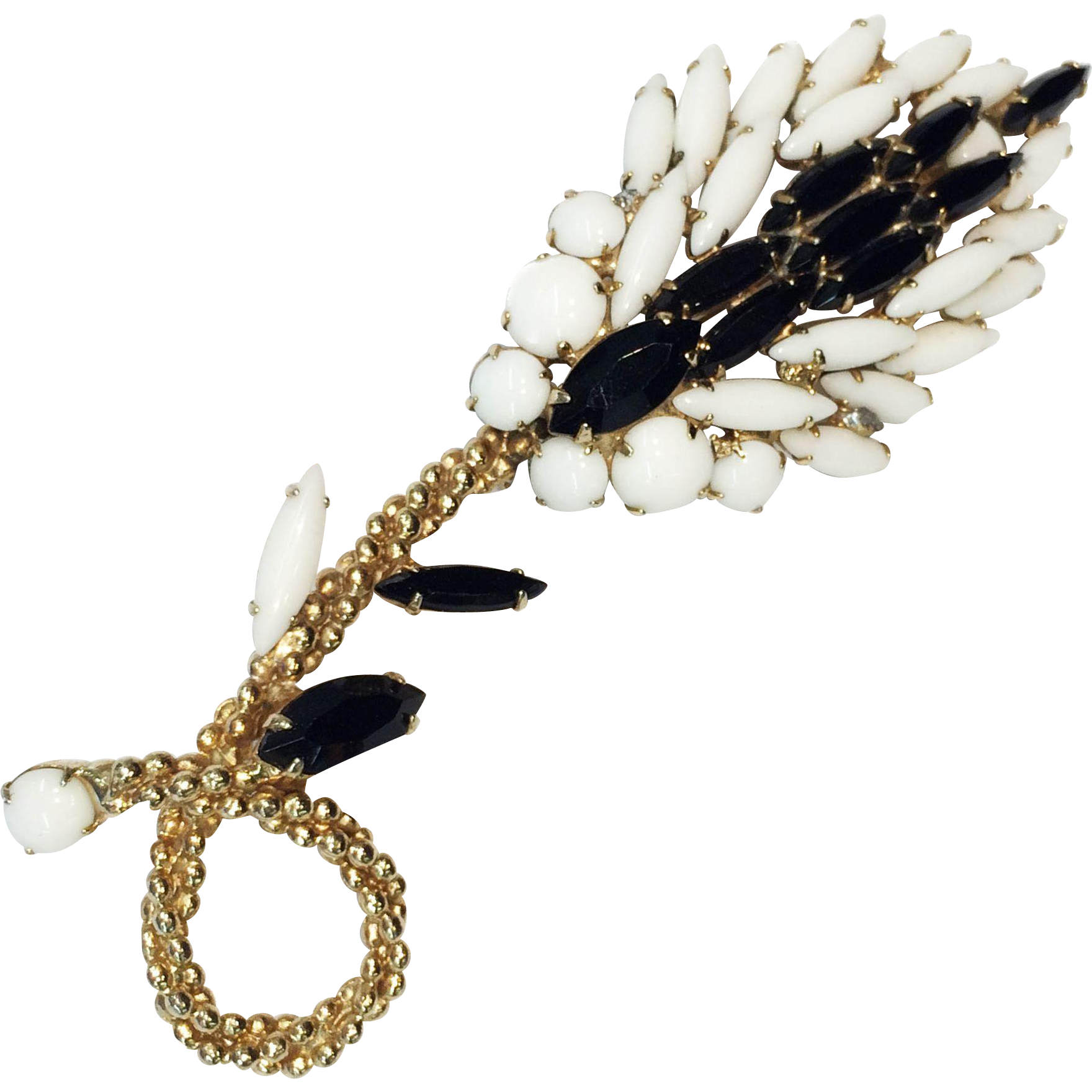 "4 3/4"" Black and White Milk Glass Slim Navette with Goldtone Braided Accent Long Floral Stalk Brooch"