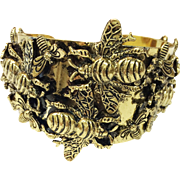 Antique Goldtone Buzzing Bee Repousee Cuff Bracelet