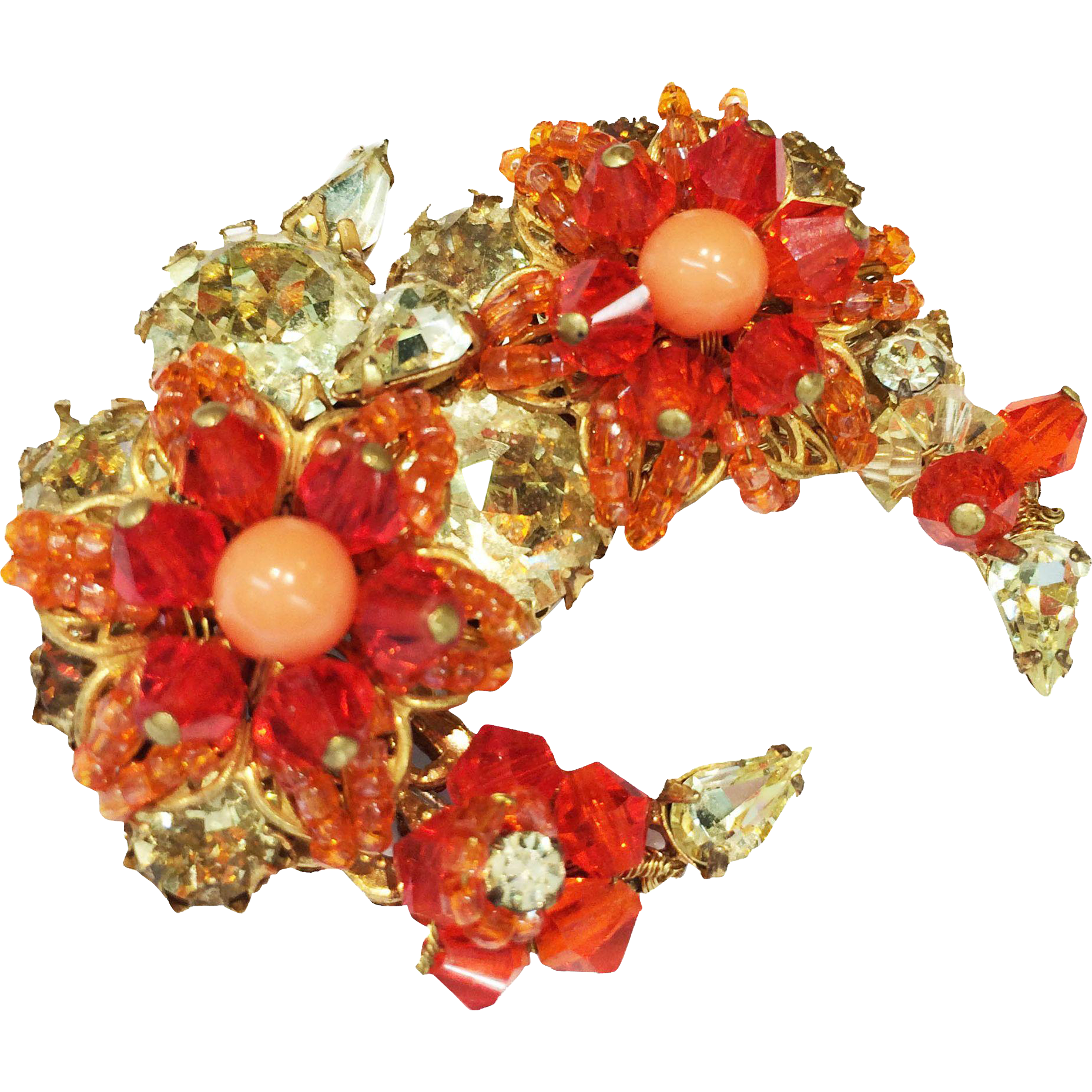 EUGENE Shades of Coral and Jonquil Bead and Rhinestone Crescent Flower Brooch