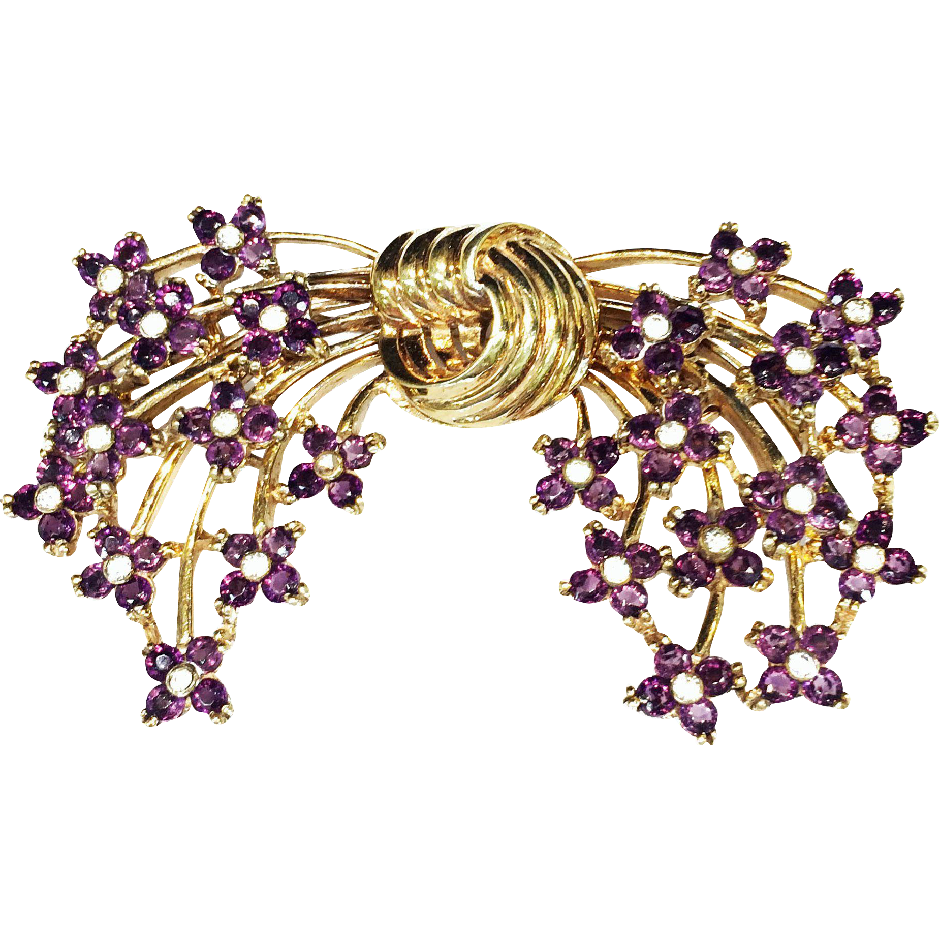 PENNINO Sterling Large Knotted Gold Tone Center Double Floral Bouquet Stray Brooch with Purple Rhinestones