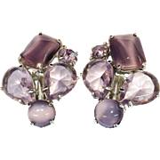 SCHIAPARELLI Dusty Mauve Shade of Purple Multi Shape Glass Stones Earrings